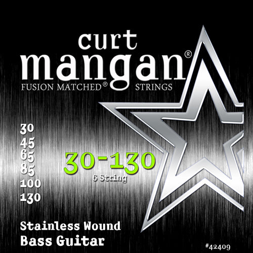 Curt Mangan 30-130 Stainless Steel Wound 6-String Set Bass Guitar Strings - Dynamic Music Distribution
