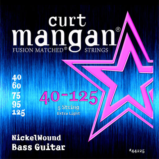 Curt Mangan 40-125 Nickel Wound Light 5-String Bass Guitar Strings - Guitar Gear Pro