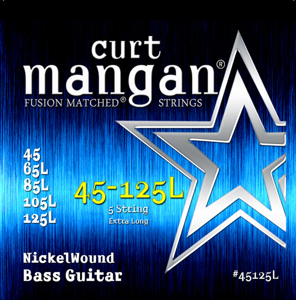 Curt Mangan 45-125 Nickel Bass 5-Strings Ex-Long Bass Guitar Strings - Dynamic Music Distribution