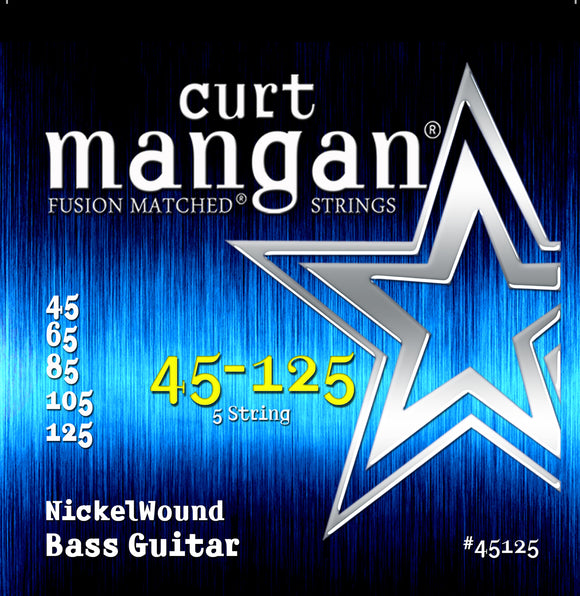 Curt Mangan 45-125 Nickel Wound 5-String Bass Bass Guitar Strings - Dynamic Music Distribution