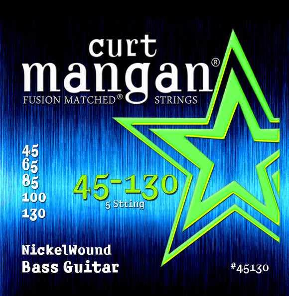 Curt Mangan 45-130 Nickel Wound 5-String Bass Guitar Strings - Dynamic Music Distribution
