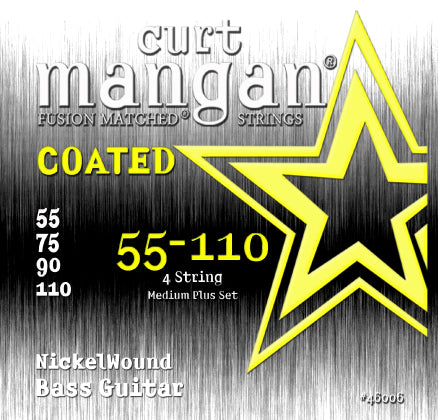 Curt Mangan 55-110 Nickel Bass Medium Plus COATED Bass Guitar Strings - Dynamic Music Distribution