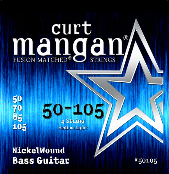 Curt Mangan 50-105 Nickel Wound Medium Light Set Bass Guitar Strings - Dynamic Music Distribution