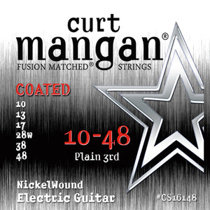 Curt Mangan 10-48 Plain 3rd NickelWound Coated Electric Guitar Strings - Dynamic Music Distribution