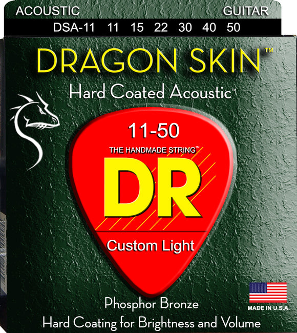 DR Dragon Skin Acoustic Guitar Strings 11-50 - Dynamic Music Distribution