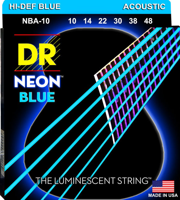 DR Neon Blue Acoustic Guitar Strings 10-48 - Dynamic Music Distribution