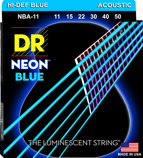 DR Neon Blue Acoustic Guitar Strings 11-50 - Dynamic Music Distribution