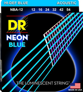 DR Neon Blue Acoustic Guitar Strings 12-54 - Dynamic Music Distribution
