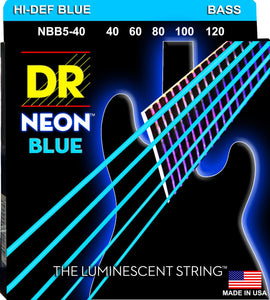 DR Neon Blue Bass Guitar 5Strings 40-120 - Dynamic Music Distribution