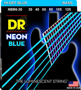 DR Neon Blue Bass Guitar 6Strings 30-125 - Dynamic Music Distribution