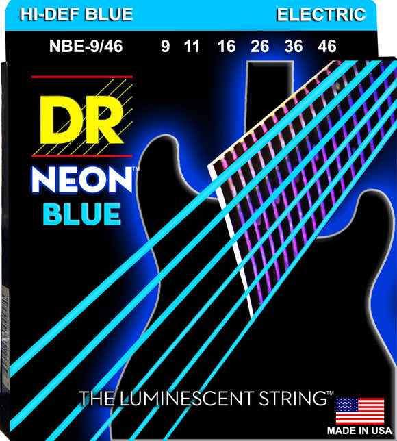 DR Neon Blue Electric Guitar Strings 9-46 - Dynamic Music Distribution