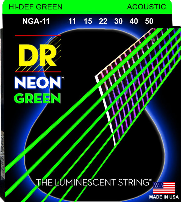DR Neon Green Acoustic Guitar Strings 11-50 - Dynamic Music Distribution