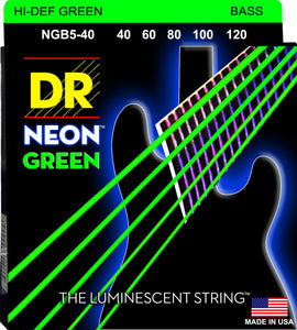DR Neon Green Bass Guitar 5Strings 40-120 - Dynamic Music Distribution