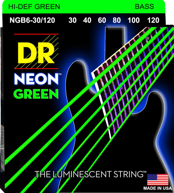 DR Neon Green Bass Guitar 6Strings 30-120 - Dynamic Music Distribution