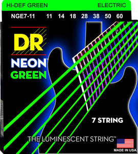 DR Neon Green Electric Guitar 7Strings 11-60 - Dynamic Music Distribution