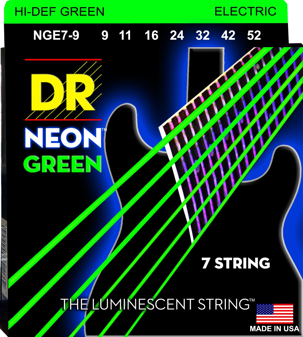 DR Neon Green Electric Guitar 7Strings 9-52 - Dynamic Music Distribution