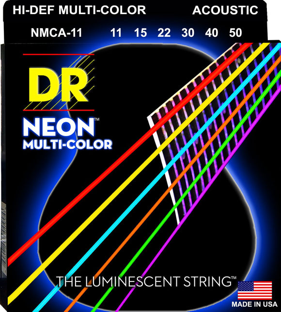 DR Neon Multicoloured Acoustic Guitar Strings 11-50 - Dynamic Music Distribution