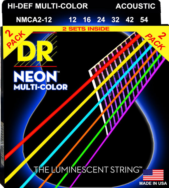 DR Neon Multicoloured Acoustic Guitar Strings 12-54 2Pk - Dynamic Music Distribution