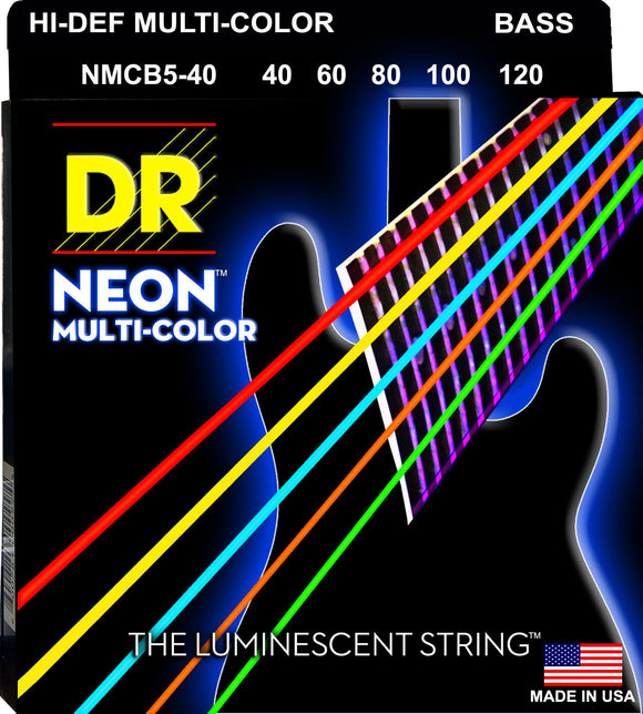 DR Neon Multicoloured Bass Guitar 5Strings 40-120 - Dynamic Music Distribution