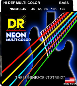 DR Neon Multicoloured Bass Guitar 5Strings 45-125 - Dynamic Music Distribution