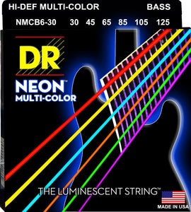 DR Neon Multicoloured Bass Guitar 6Strings 30-125 - Dynamic Music Distribution