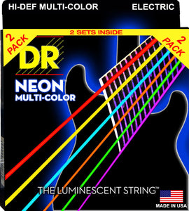 DR Neon Multicoloured Electric Guitar Strings 10-46 2Pk - Dynamic Music Distribution