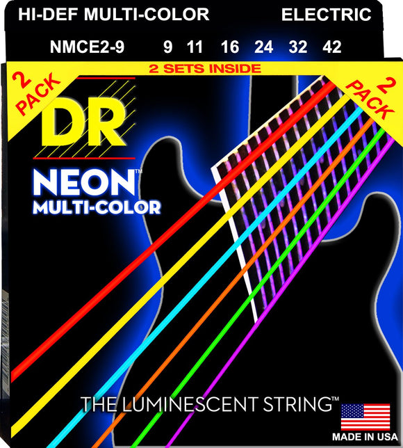 DR Neon Multicoloured Electric Guitar Strings 9-42 2Pk - Dynamic Music Distribution