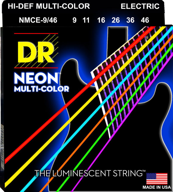 DR Neon Multicoloured Electric Guitar Strings 9-46 - Dynamic Music Distribution