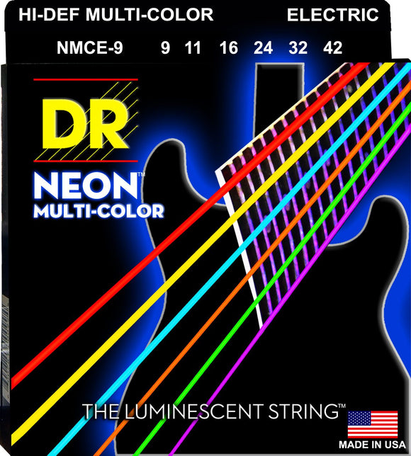 DR Neon Multicoloured Electric Guitar Strings 9-42 - Dynamic Music Distribution