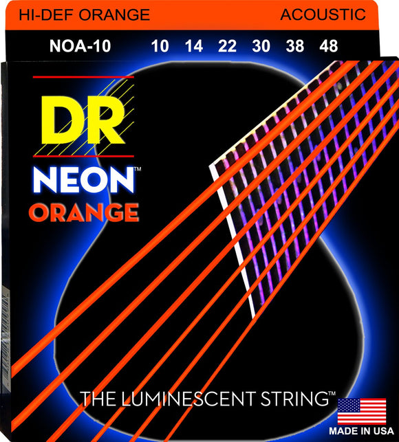 DR Neon Orange Acoustic Guitar Strings 10-48 - Dynamic Music Distribution