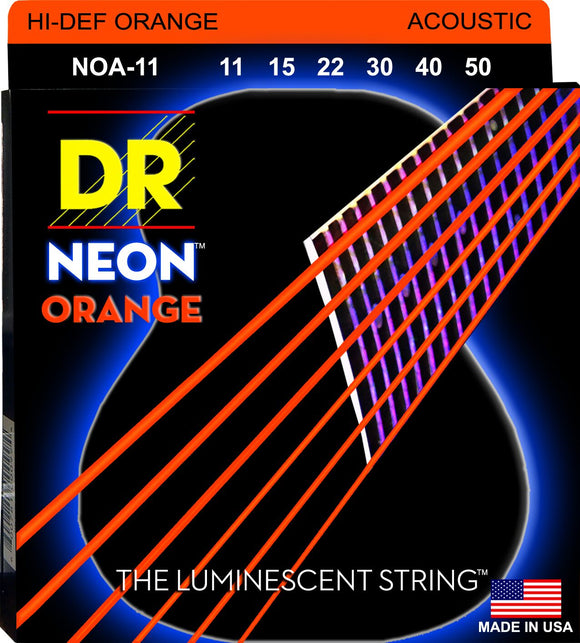 DR Neon Orange Acoustic Guitar Strings 11-50 - Dynamic Music Distribution