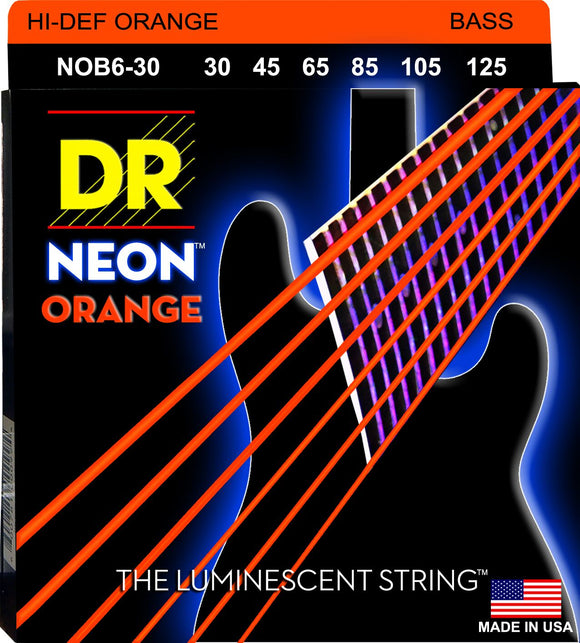 DR Neon Orange Bass Guitar 6Strings 30-125 - Dynamic Music Distribution