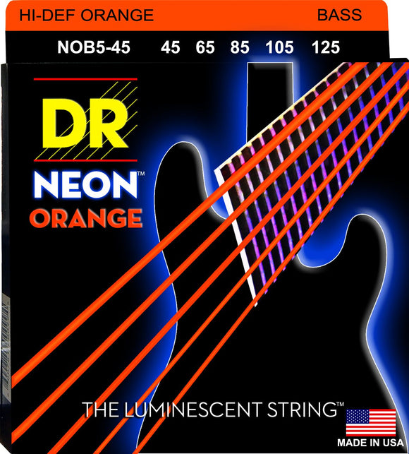 DR Neon Orange Bass Guitar 5Strings 45-125 - Dynamic Music Distribution