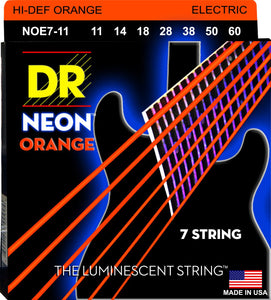 DR Neon Orange Electric Guitar 7Strings 11-60 - Dynamic Music Distribution