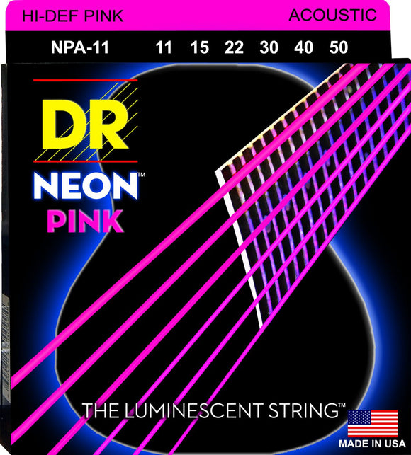 DR Neon Pnk Acoustic Guitar Strings 11-50 - Dynamic Music Distribution