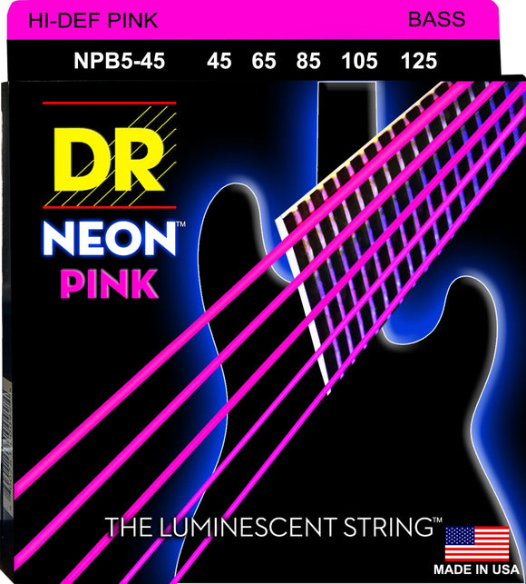 DR Neon Pnk Bass Guitar 5Strings 45-125 - Dynamic Music Distribution