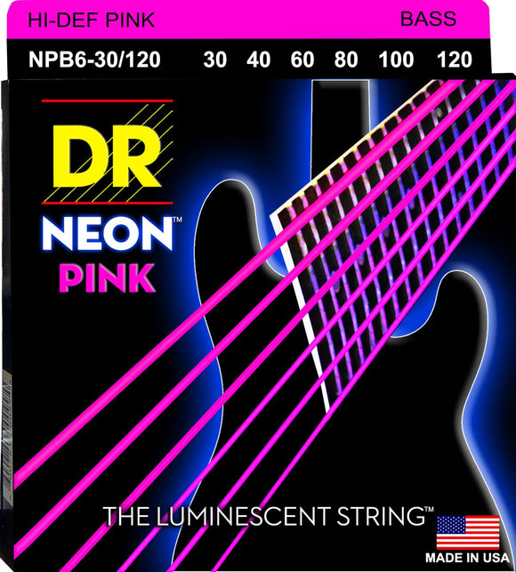 DR Neon Pnk Bass Guitar 6Strings 30-120 - Dynamic Music Distribution