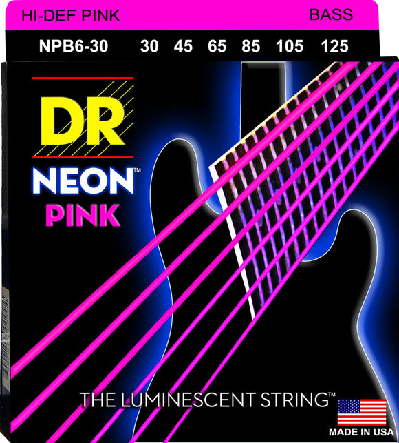DR Neon Pnk Bass Guitar 6Strings 30-125 - Dynamic Music Distribution