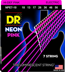 DR Neon Pnk Electric Guitar 7Strings 10-56 - Dynamic Music Distribution