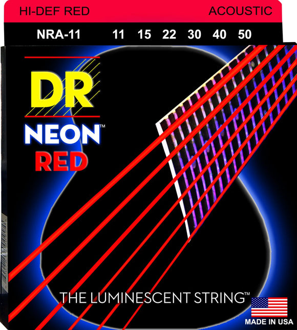 DR Neon Red Acoustic Guitar Strings 11-50 - Dynamic Music Distribution