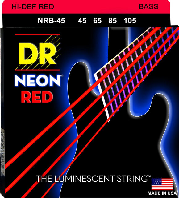 DR Neon Red Bass Guitar Strings 45-105 - Dynamic Music Distribution
