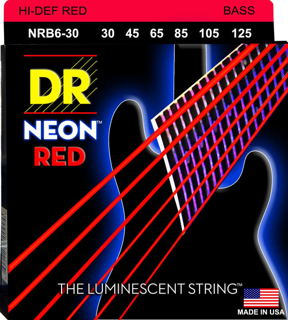 DR Neon Red Bass Guitar 6Strings 30-125 - Dynamic Music Distribution