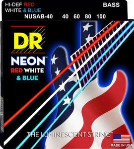 DR Neon USA Bass Guitar Strings 40-100 - Dynamic Music Distribution