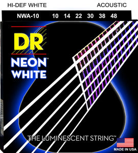 DR Neon White Acoustic Guitar Strings 10-48 - Dynamic Music Distribution