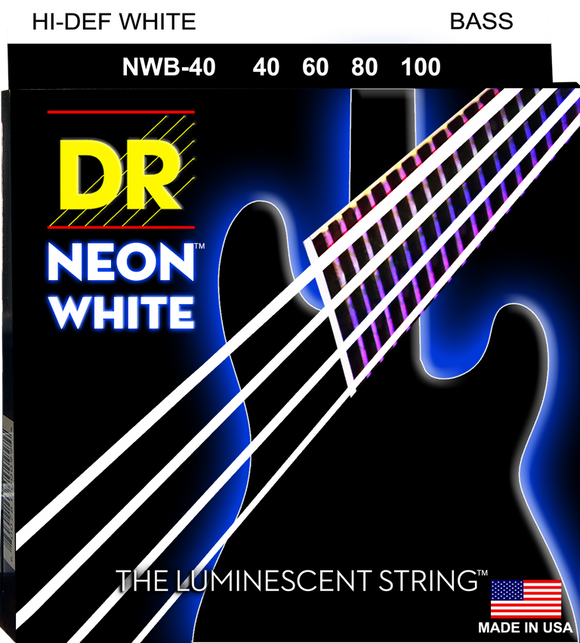 DR Neon White Bass Guitar Strings 40-100 - Dynamic Music Distribution