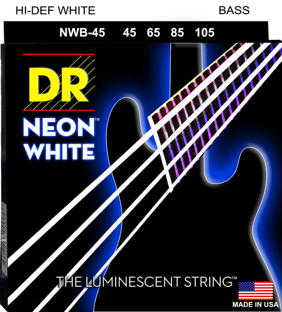 DR Neon White Bass Guitar Strings 45-105 - Dynamic Music Distribution