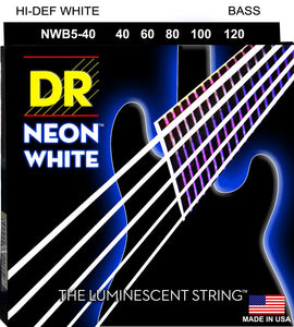 DR Neon White Bass Guitar 5Strings 40-120 - Dynamic Music Distribution