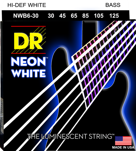 DR Neon White Bass Guitar 6Strings 30-125 - Dynamic Music Distribution