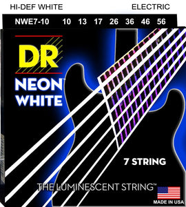 DR Neon White Electric Guitar 7Strings 10-56 - Dynamic Music Distribution