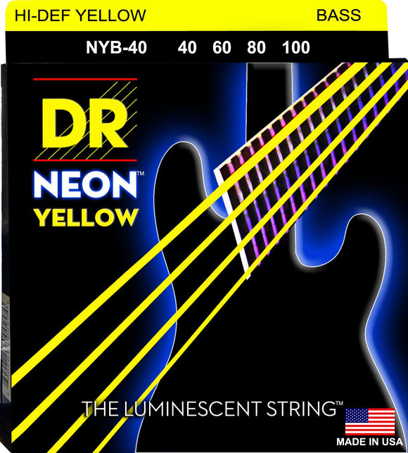 DR Neon Ylw Bass Guitar Strings 40-100 - Dynamic Music Distribution